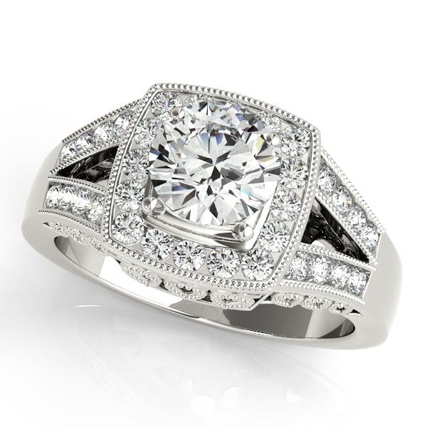 Split Shank Square Halo & Round Engagement Ring 14k White Gold 1 58ct