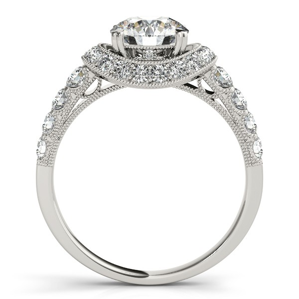 Diamond Frame Engagement Ring with Side Stones 14k White Gold 1.64ct