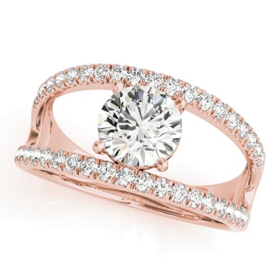 Round Diamond Split Shank Engagement Ring 14K Rose Gold (0.69ct)