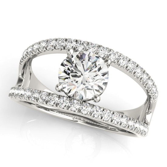 Round Diamond Split Shank Engagement Ring 18K White Gold (0.69ct)