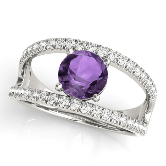 Amethyst Split Shank Engagement Ring Platinum (0.59ct)
