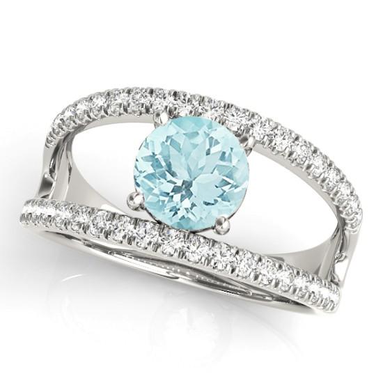 Aquamarine Split Shank Engagement Ring Platinum (0.64ct)