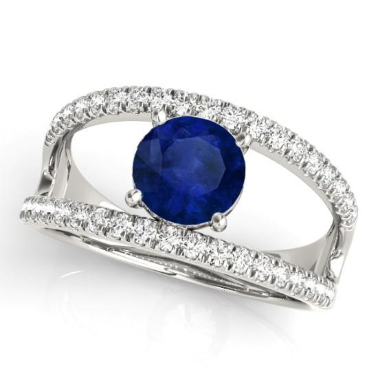 Blue Sapphire Split Shank Engagement Ring 14K White Gold (0.84ct)