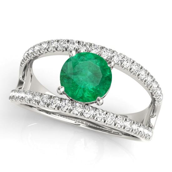 Emerald Split Shank Engagement Ring 18K White Gold (0.67ct)