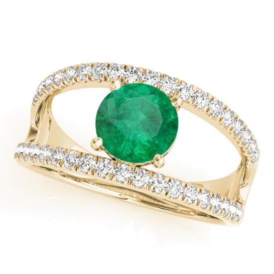 Emerald Split Shank Engagement Ring 18K Yellow Gold (0.67ct)