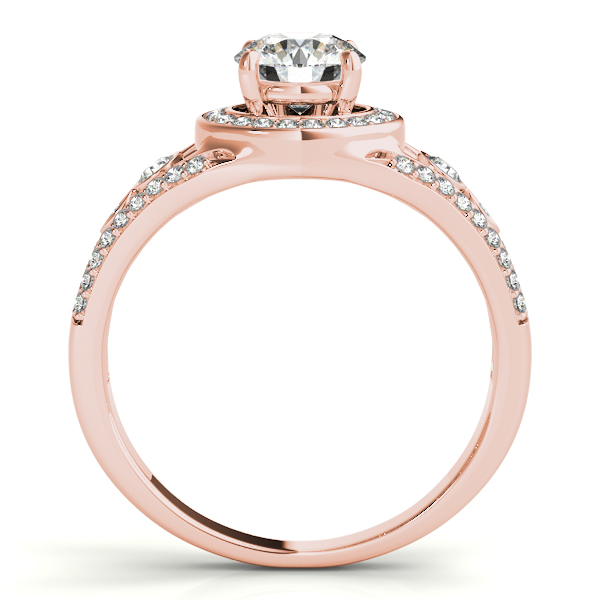 Vintage Wide Band Diamond Halo Engagement Ring 14k Rose Gold (1.08ct)