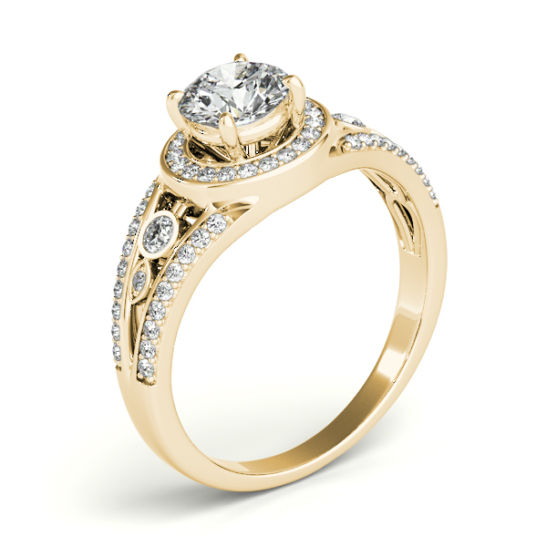 Vintage Wide Band Diamond Halo Engagement Ring 14k Yellow Gold 1.08ct