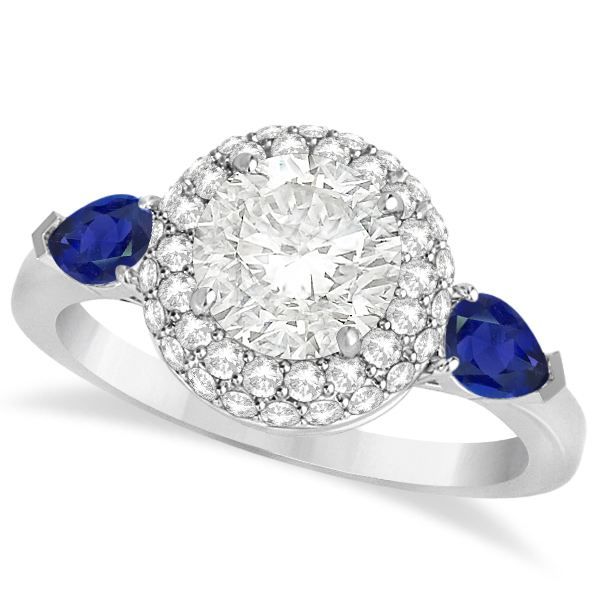 Pear Sapphire & Round Diamond Halo Engagement Ring 14k W Gold (1.70ct)