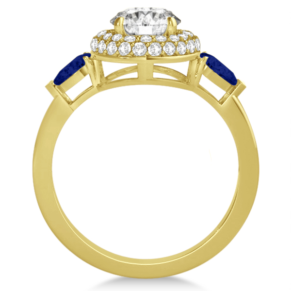 Pear Sapphire & Round Diamond Halo Engagement Ring 14k Y Gold (1.70ct)