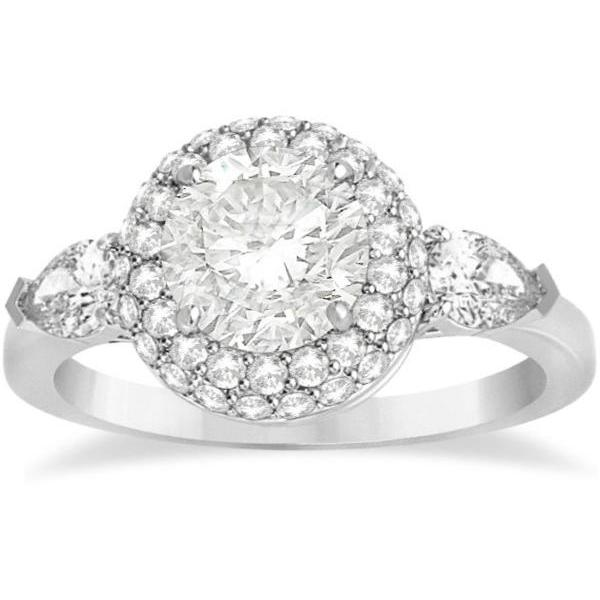 Pear Cut Side Stones & Diamond Halo Engagement Ring 18k W. Gold 0.75ct