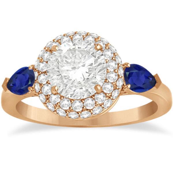 Pear Cut Sapphire & Diamond Engagement Ring Setting 18k R. Gold 0.75ct