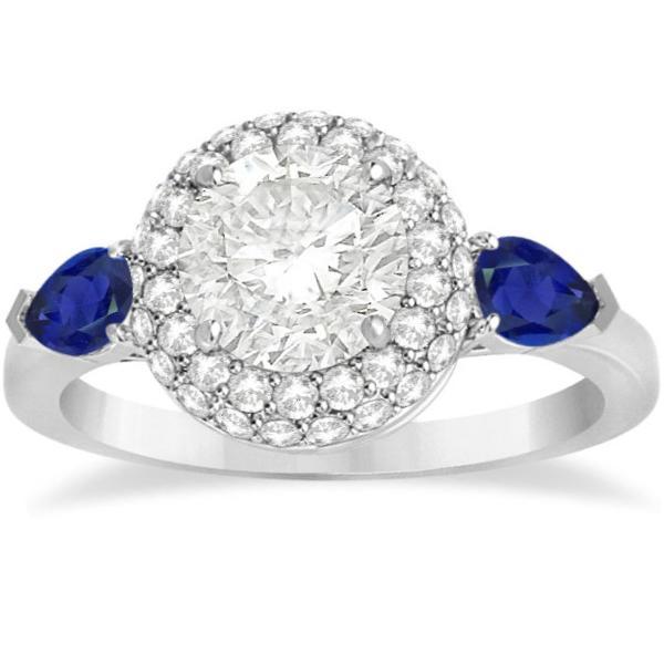 Pear Cut Sapphire & Diamond Engagement Ring Setting 18k W. Gold 0.75ct