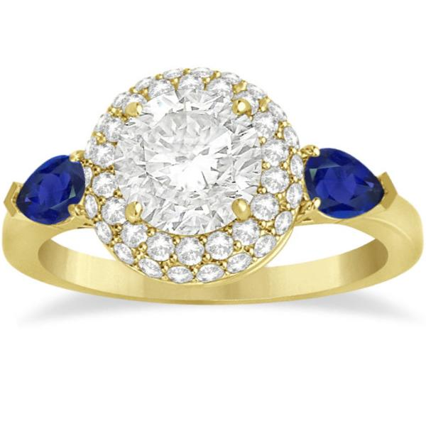 Pear Cut Sapphire & Diamond Engagement Ring Setting 18k Y. Gold 0.75ct