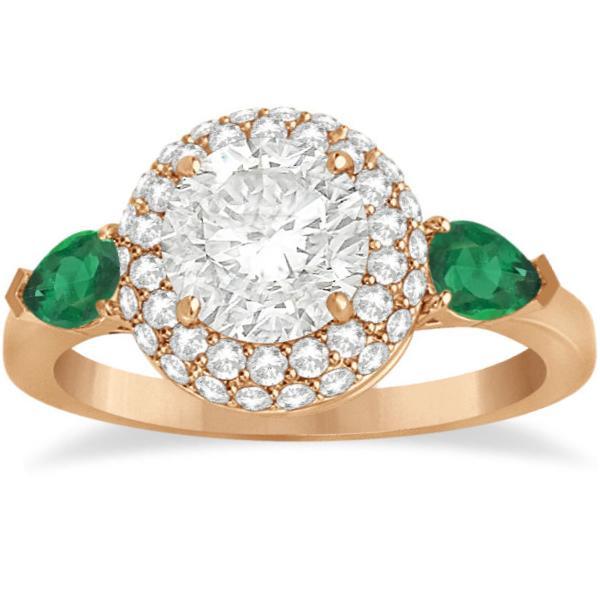 Pear Cut Emerald & Diamond Engagement Ring Setting 14k R. Gold 0.75ct