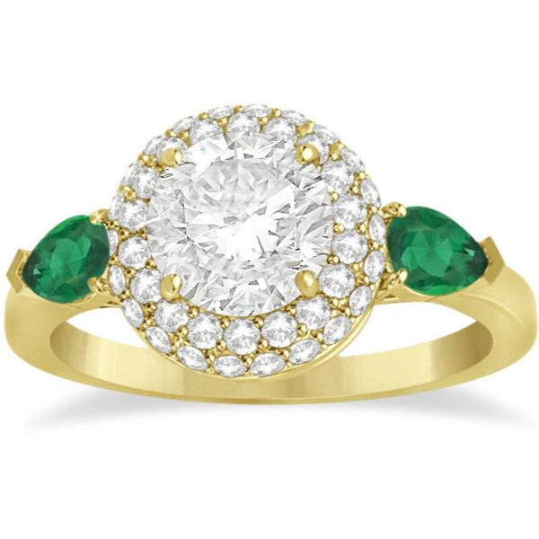 Pear Cut Emerald & Diamond Engagement Ring Setting 18k Y. Gold 0.75ct