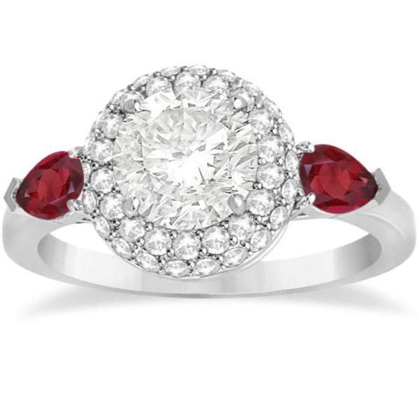 Pear Shape Ruby & Diamond Engagement Ring Setting 14k W. Gold (0.75ct)