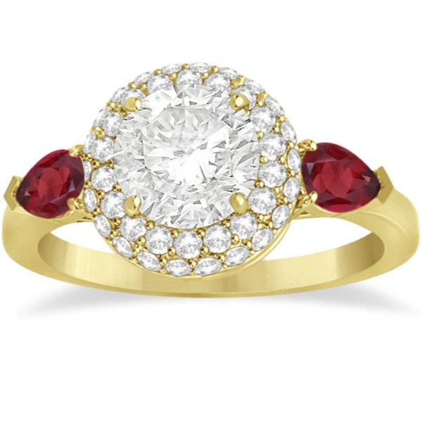 Pear Shape Ruby & Diamond Engagement Ring Setting 14k Y. Gold (0.75ct)