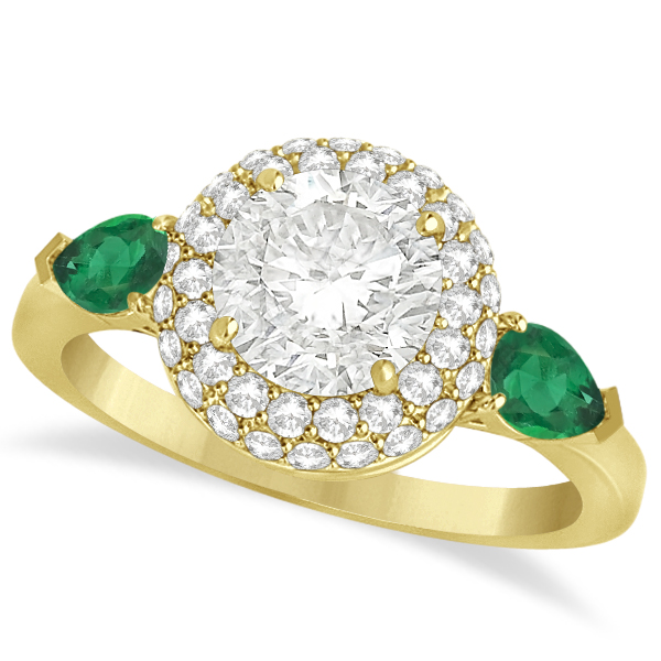 pear emerald halo engagement ring 14k y