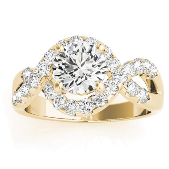 Diamond Twisted Band Engagement Ring Setting 14K Yellow Gold (0.98ct)