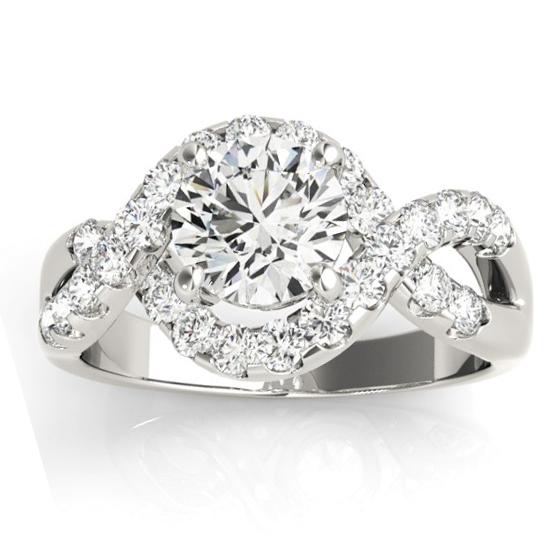 Diamond Twisted Band Engagement Ring Setting 18K White Gold (0.98ct)