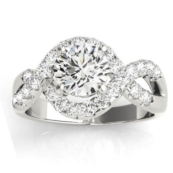 Diamond Twisted Band Engagement Ring Setting Palladium (0.98ct)