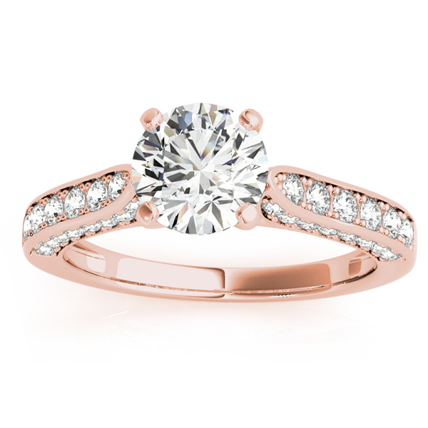 Diamond Sidestone Accented Engagement Ring 18k Rose Gold (0.50ct)