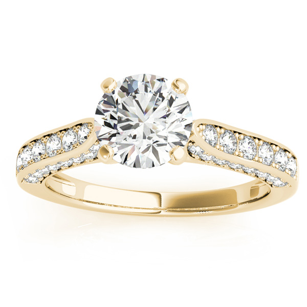 Diamond Sidestone Accented Engagement Ring 18k Yellow Gold (0.50ct)