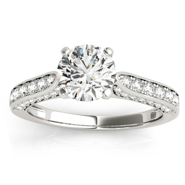 Diamond Sidestone Accented Engagement Ring Palladium (0.50ct)