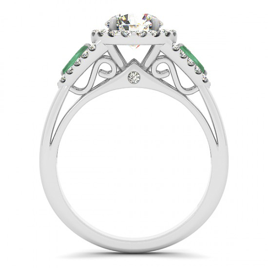Diamond & Marquise Emerald Engagement Ring Palladium (1.59ct)