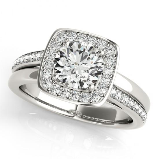 Diamond Halo Square Border Engagement Ring 14k White Gold 1 26ct
