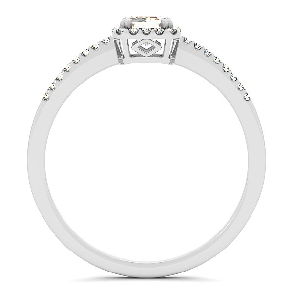 Emerald Cut Diamond Halo Engagement Ring w/ Accents 14k W. Gold 1.20ct