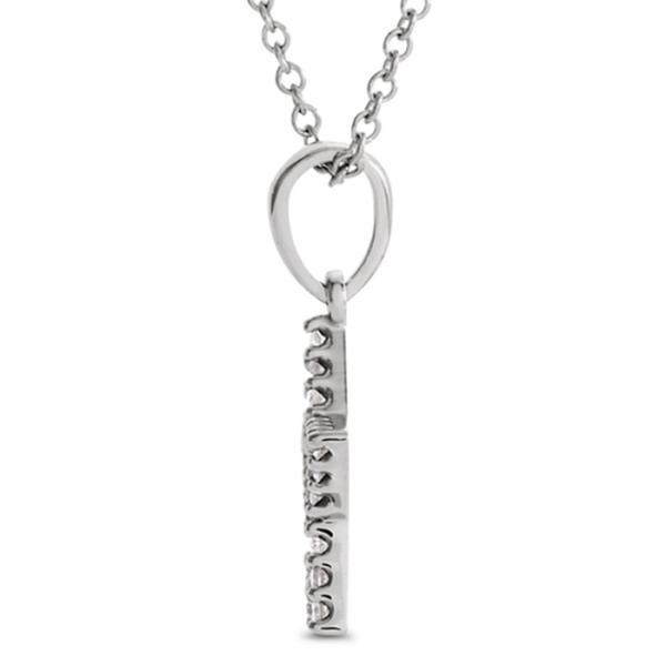 Petite Star Shape Diamond Pendant Necklace 14k White Gold 0.16ct