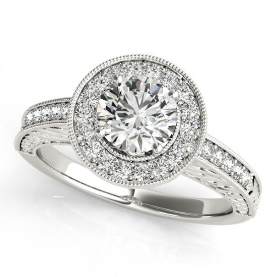 halo antique style design engagement ring 14k