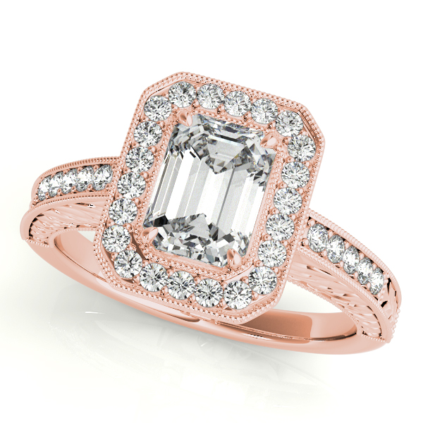Antique Emerald Cut Diamond Engagement Ring 18k Rose Gold (1.80ct)