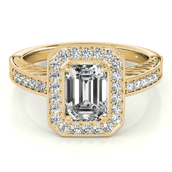 antique emerald cut engagement ring 18k yellow