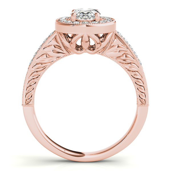 Antique Style Oval Diamond Halo Engagement Ring 14k Rose Gold 1.50ct