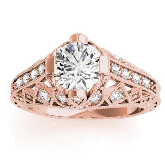 Diamond Antique Style Engagement Ring Setting 14K Rose Gold (0.20ct)