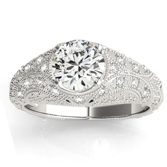 Diamond Antique Style Engagement Ring Art Deco 18K White Gold (0.20ct)