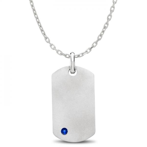Engravable Dog Tag Pendant w/ Blue Sapphire in Sterling Silver 0.15