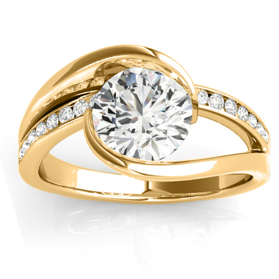 Diamond Tension Set Engagement Ring Setting 18K Yellow Gold (0.19ct)