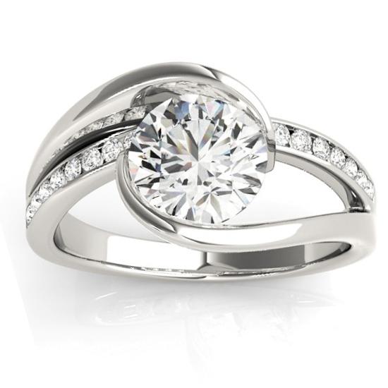 Diamond Tension Set Engagement Ring Setting Palladium (0.19ct)