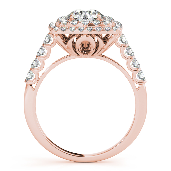 Square Double Diamond Halo Engagement Ring 14k Rose Gold 2 63ct