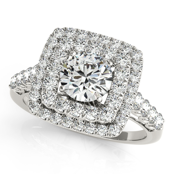 Square Double Diamond Halo Engagement Ring 14k White Gold (2.63ct)