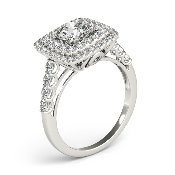 Square Double Diamond Halo Engagement Ring Platinum (2.63ct)