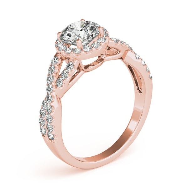 Infinity Twisted Halo Engagement Ring 14k Rose Gold 1 50ct