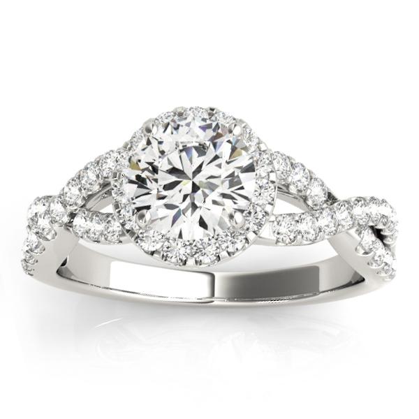 Diamond Infinity Halo Engagement Ring 14k White Gold (0.52ct)