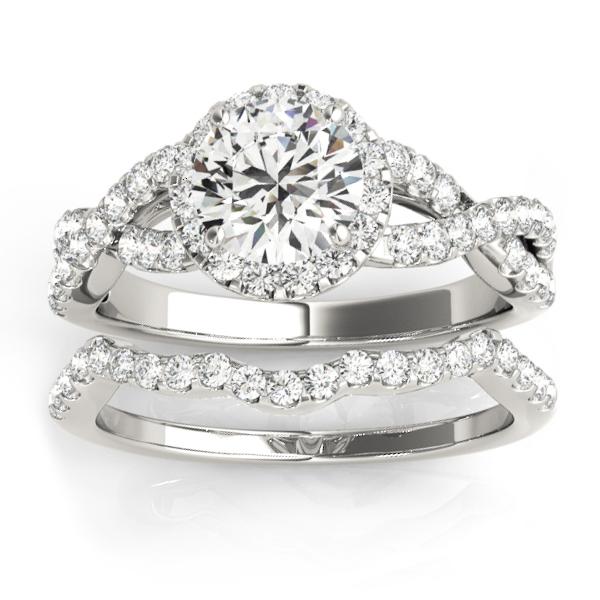 Diamond Infinity Halo Engagement Ring & Band 14k White Gold (0.73ct)