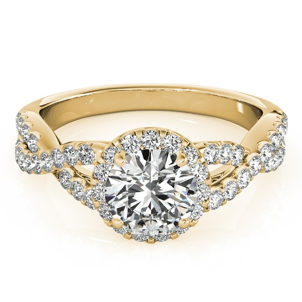 Diamond Infinity Twisted Halo Engagement Ring 14k Yellow Gold 1.00ct