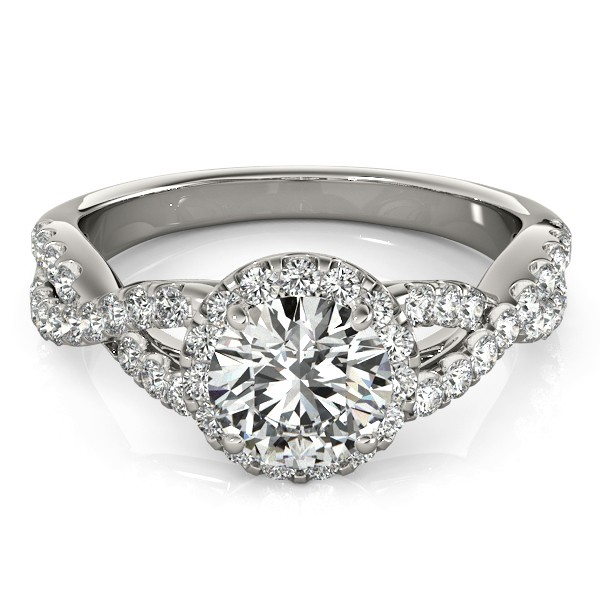 Diamond Infinity Twisted Halo Engagement Ring Platinum 1.00ct