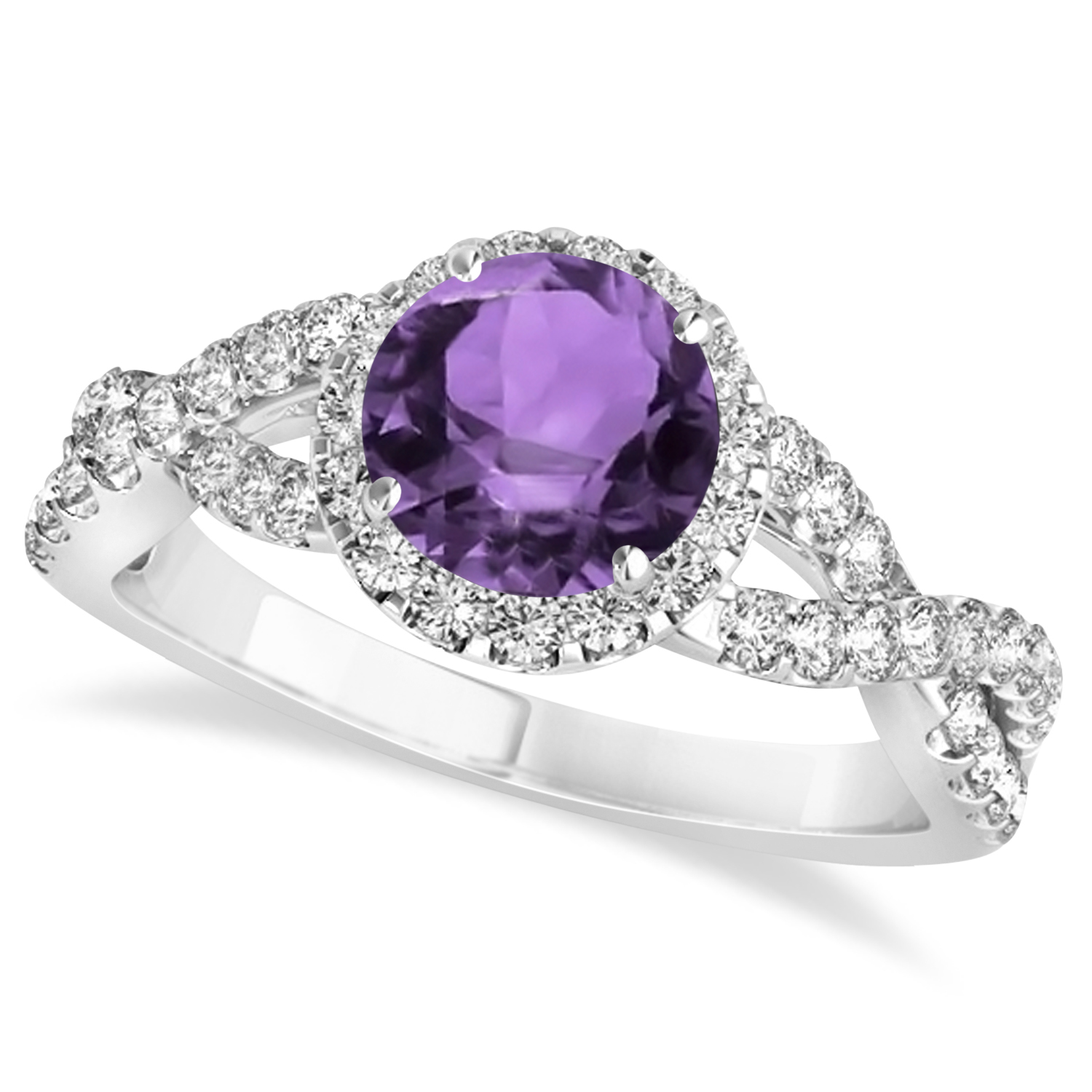 amethyst twisted engagement ring 14k white gold
